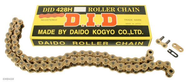 D.I.D Chain, 428 Pitch, Gold & Gold - 56 Link